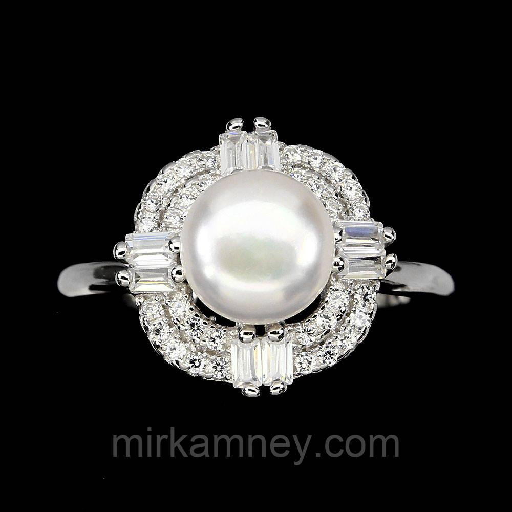 Оригінальне срібне кільце натуральний перли. Розмір 17,5