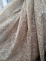 Шикарная тюль паутинка органза  п-во Турция кофейная, фото 1