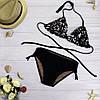 Женский стильный купальник черного цвета с пайетками