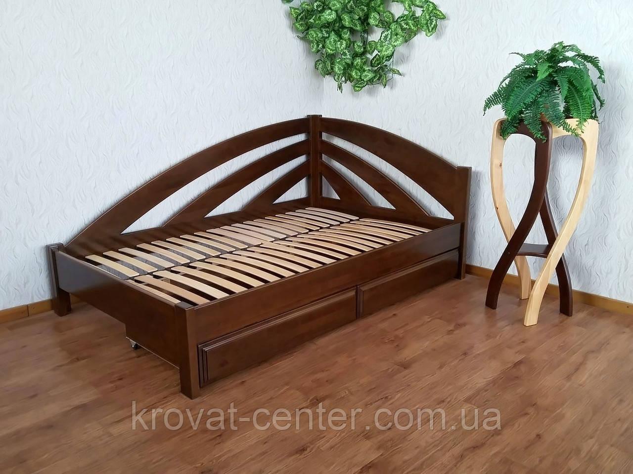 """Полуторне ліжко з ящиками з масиву натурального дерева """"Веселка"""" від виробника"""
