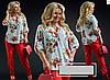 Костюм двійка блузка з чорним, червоний 50-60 розмір