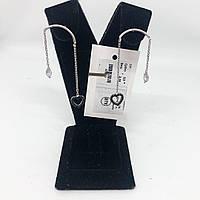 """Серьги подвески My Jewels из серебра 925 с куб. цирконием черным """"дуга"""", фото 1"""