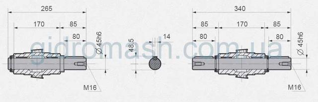 Размеры валов NMRV130