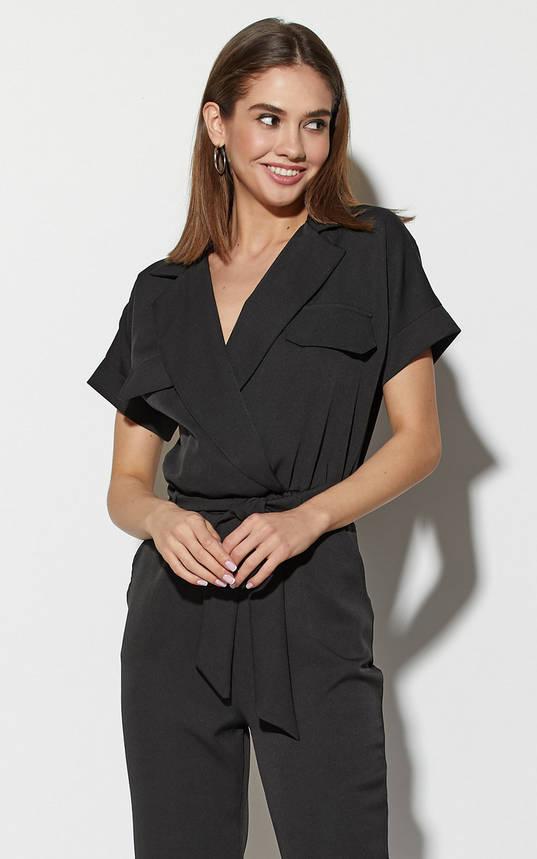 Комбинезон женский с коротким рукавом черный, фото 2