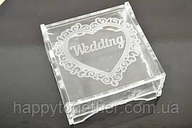 """Акриловая шкатулка,  коробочка для колец """"Wedding"""""""