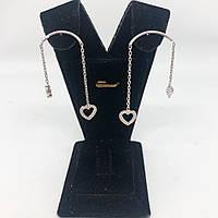 """Сережки підвіски з срібла з куб. цирконієм Beauty Bar """"дуга"""", фото 1"""