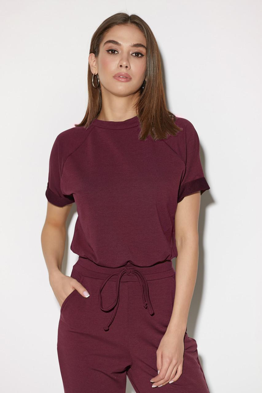 Комбинезон женский с коротким рукавом бордовый