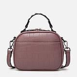 Модная маленькая женская сумка. Сумка женская  с тиснением под крокодила (черная), фото 5