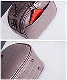 Модная маленькая женская сумка. Сумка женская  с тиснением под крокодила (черная), фото 8