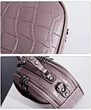 Модная маленькая женская сумка. Сумка женская  с тиснением под крокодила (черная), фото 9