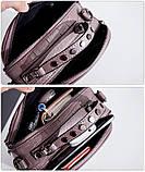 Модная маленькая женская сумка. Сумка женская  с тиснением под крокодила (черная), фото 10
