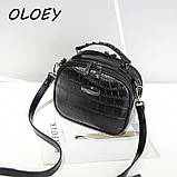 Модная маленькая женская сумка. Сумка женская  с тиснением под крокодила (черная), фото 3