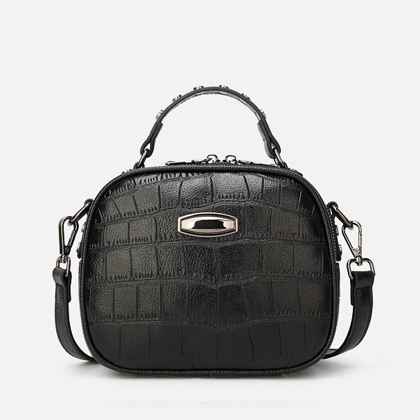 Модная маленькая женская сумка. Сумка женская  с тиснением под крокодила (черная)