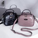 Модная маленькая женская сумка. Сумка женская  с тиснением под крокодила (черная), фото 4