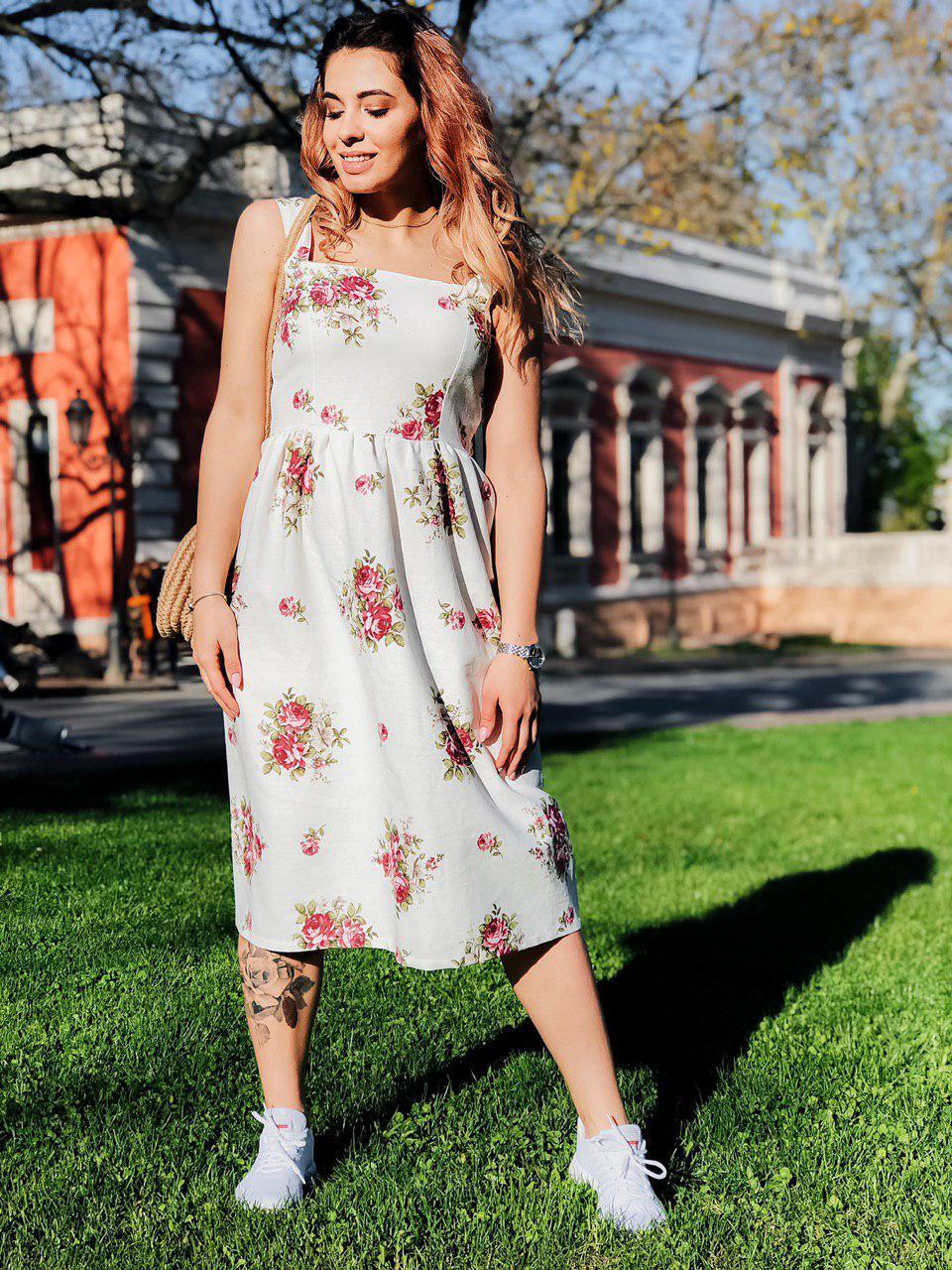 Платье Лен цветы миди 4053