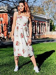 Сукня Льон квіти міді 4053