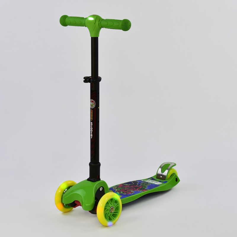 Самокат С 37200 (1) Best Scooter/ складной руль С ФАРОЙ, 4 колеса PU со светом, d=12 см