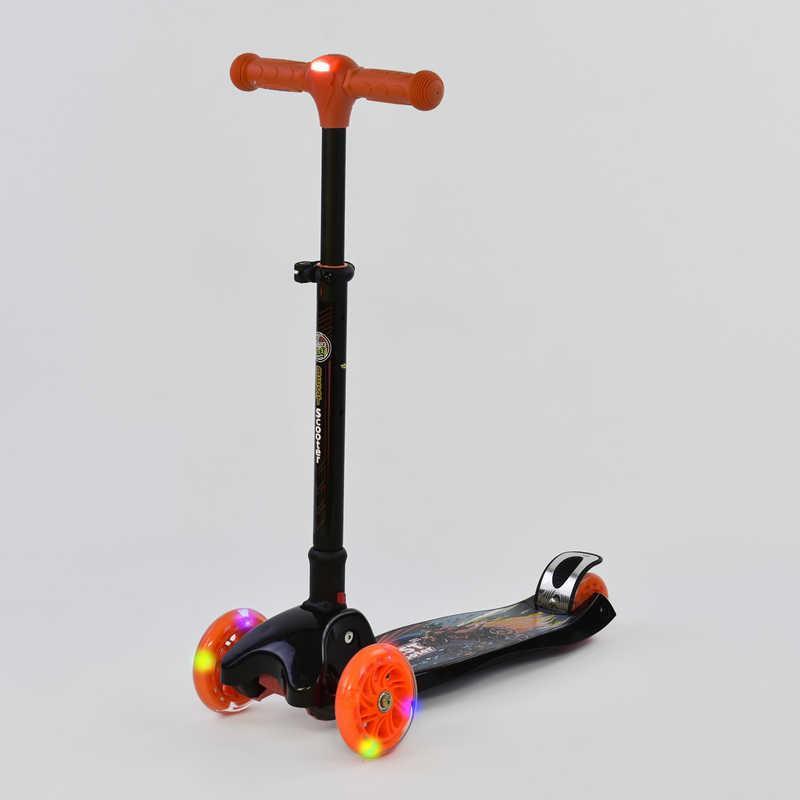 Самокат С 42300 (1) Best Scooter/ складной руль С ФАРОЙ, 4 колеса PU со светом, d=12 см