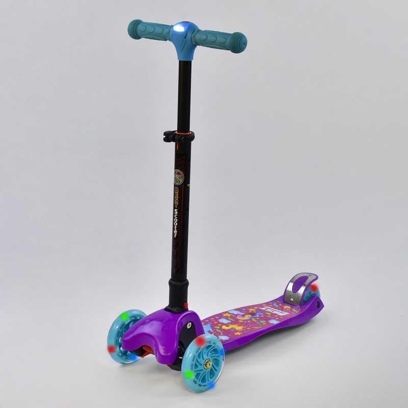 Самокат С 44500 (1) Best Scooter/ складной руль С ФАРОЙ, 4 колеса PU со светом, d=12 см