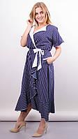 Агата. Легкое платье для больших размеров. Полоска