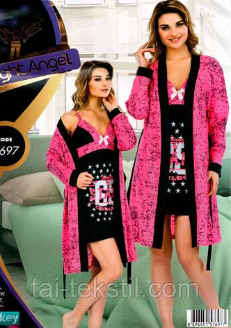 Комплект 2-ка халат и ночная рубашка Турция Night Angel №7767, фото 2
