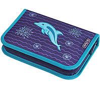 Пенал школьный Herlitz Dolphin с наполнением (31 предмет)