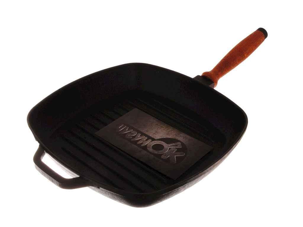 Сковорода гриль чугунная Чугунок со стеклянной крышкой d=260 мм