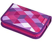 Пенал школьный Herlitz Cubes Pink с наполнением (31 предмет)
