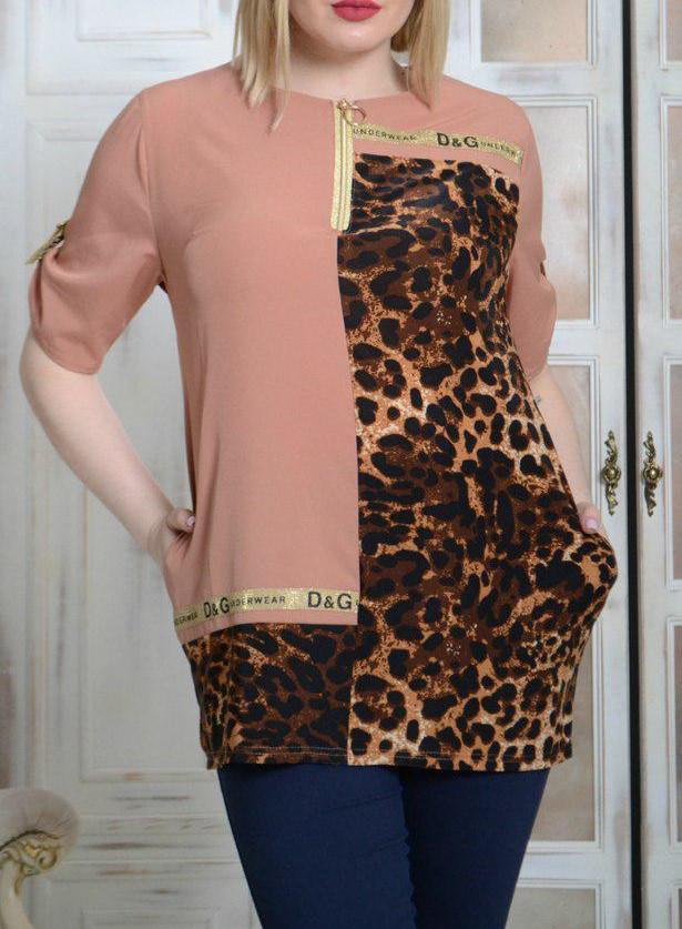 ffeaaae9bec3 Модная блуза туника больших размеров