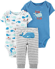"""Набор для малыша Carter's (США) """"Кит"""" тройка боди футболка и штанишки для мальчика, веселые попки картерс"""
