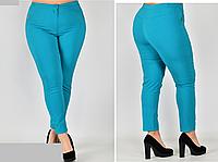 Женские брюки укороченные бирюзовые, с 48-58 размер, фото 1
