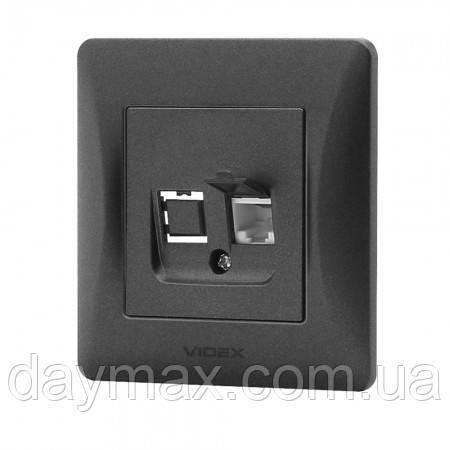 VIDEX BINERA Розетка телефонная одинарная черный графит CAT3
