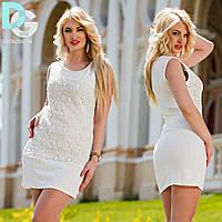 "Д71 Платье  с кружевом ""Жемчуг"" Белый"