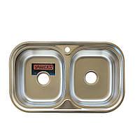 Двойная мойка Platinum 7848D Satin 0.8мм