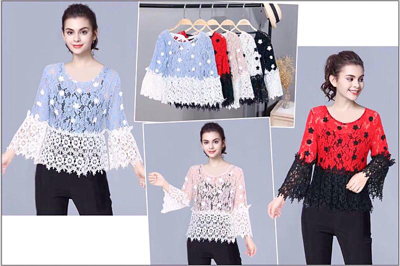Гипюровая блуза в мелкие кружевные цветы 44-46