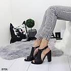 Женские черные босоножки на устойчивом каблуке, из искусственной кожи и силикона 36 37 ПОСЛ. РАЗМЕРЫ, фото 2