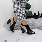 Женские черные босоножки на устойчивом каблуке, из искусственной кожи и силикона 36 37 ПОСЛ. РАЗМЕРЫ, фото 3