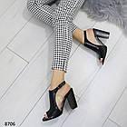 Женские черные босоножки на устойчивом каблуке, из искусственной кожи и силикона 36 37 ПОСЛ. РАЗМЕРЫ, фото 4