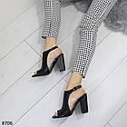 Женские черные босоножки на устойчивом каблуке, из искусственной кожи и силикона 36 37 ПОСЛ. РАЗМЕРЫ, фото 6