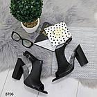 Женские черные босоножки на устойчивом каблуке, из искусственной кожи и силикона 36 37 ПОСЛ. РАЗМЕРЫ, фото 7