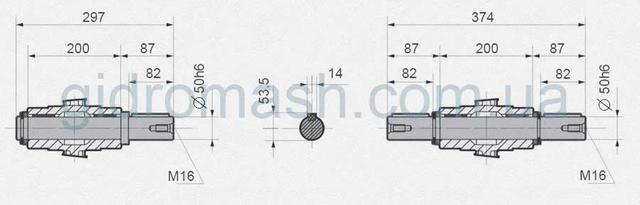 Размеры валов NMRV-150