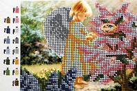 """Схема для вышивки бисером """"Ангелочек в саду""""  15,5 х 12 см"""