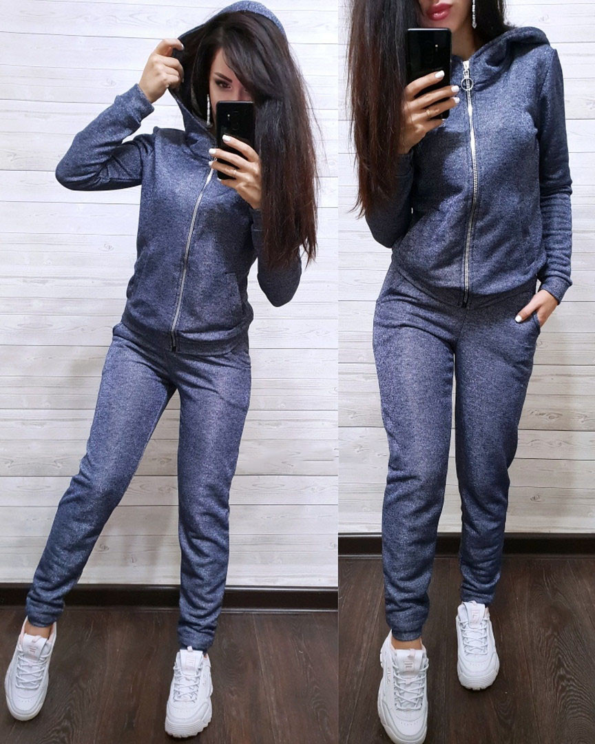 5d375c34ee9 Модный женский спортивный костюм на молнии с капюшоном - Интернет-магазин