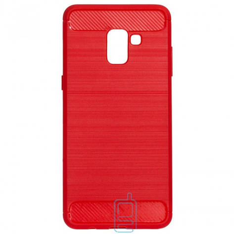 Чехол силиконовый Polished Carbon Samsung A8 Plus 2018 A730 красный, фото 2