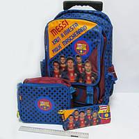 """Комплект детский чемодан - рюкзак дорожный на колесах + сумка + пенал """"Josef Otten"""" Футбол 520208"""