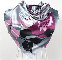 Платок 90х90 Абстракция Цветы Листья (серый) Р-078