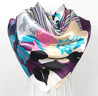 Платок 90х90 Абстракция Цветы Листья (фиолетовый) Р-079
