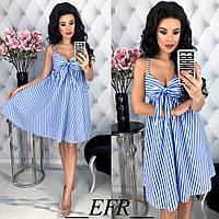 Женское летнее платье на бретелях Коттон Размер 46 48