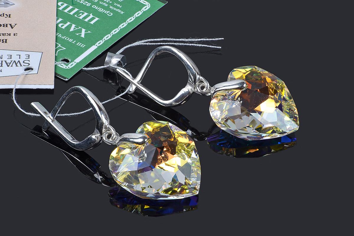 Серьги в форме сердца с кристаллами Swarovski