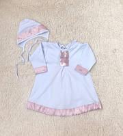 """Крестильная рубашка с шапочкой """"Ангел"""", белая с розовым, 62-68-74 р."""